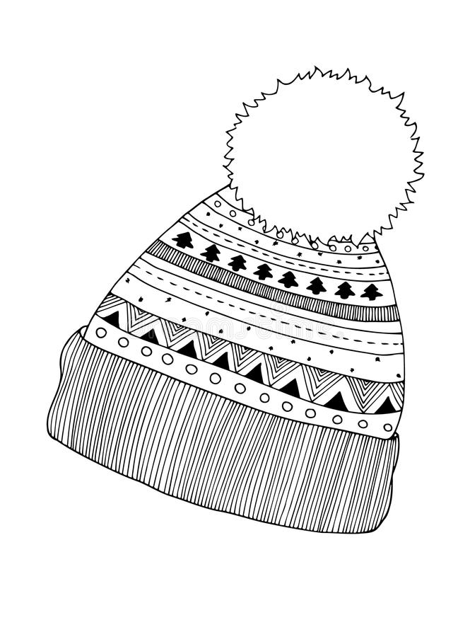 Zima dziająca nakrętka w zentangle, plemienny monochromu styl royalty ilustracja