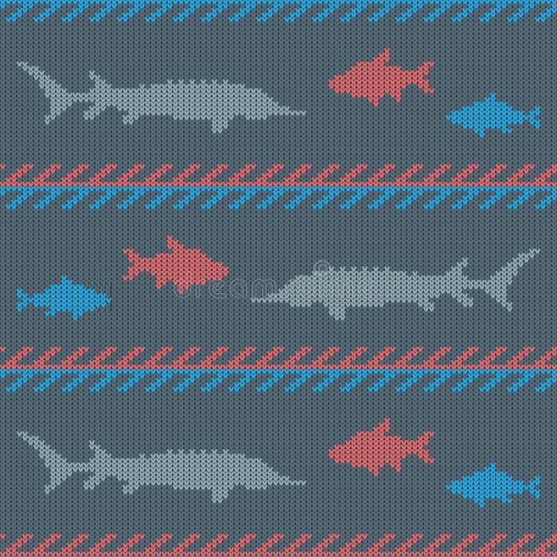 Zima Dziający woolen bezszwowy wzór z reklamy ryba Leszcz i jesiotr royalty ilustracja