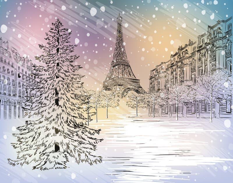 Zima dzień w Paryż royalty ilustracja