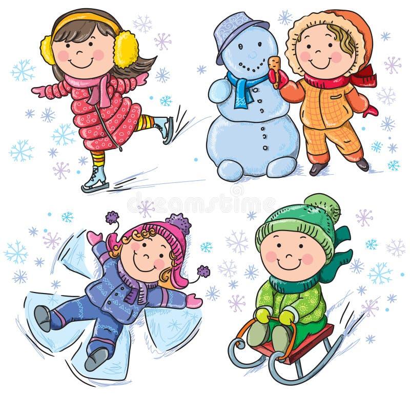 Zima dzieciaki ilustracja wektor