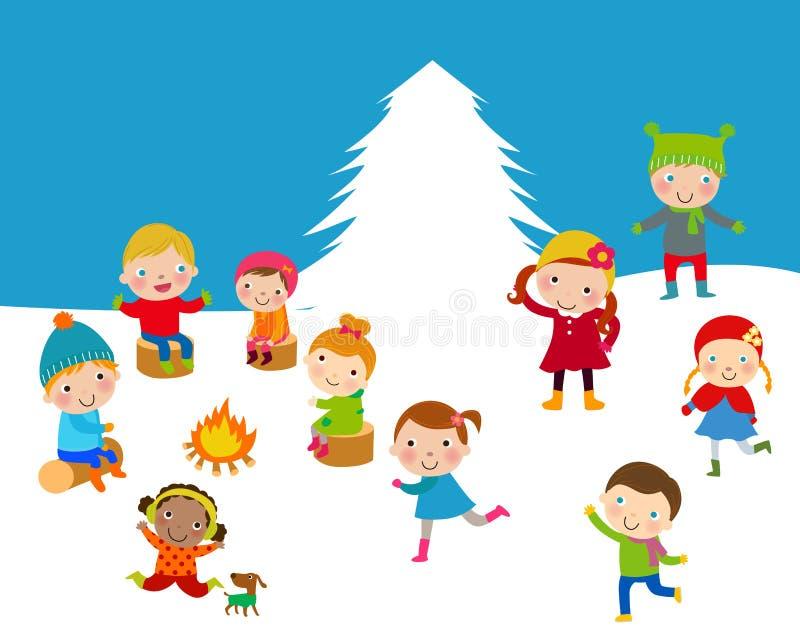 Zima dzieciaki royalty ilustracja