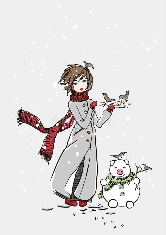 zima dziewczyny ilustracji