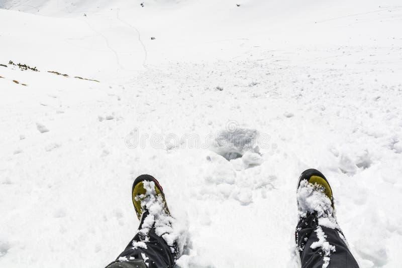 Zima getry w śniegu i buty obrazy royalty free