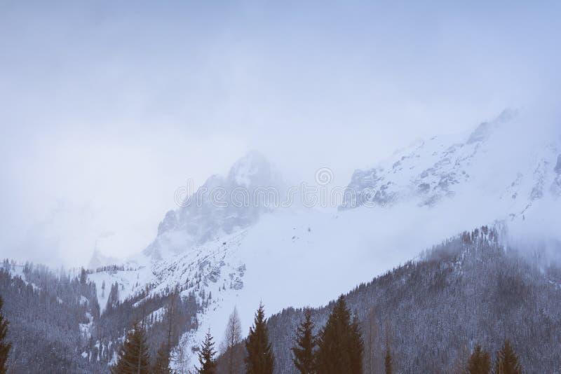 Zima halny szczyt w mgle fotografia royalty free