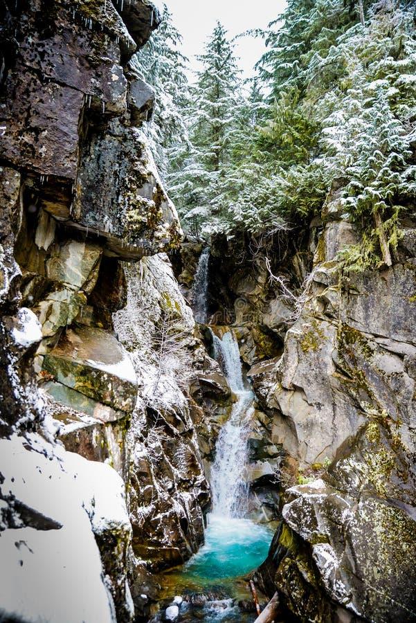 Zima i śnieg sceneria przy góra Dżdżystym parkiem narodowym, raj obrazy royalty free