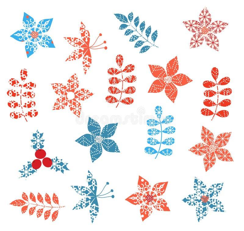 Zima i Bożenarodzeniowi stylizowani dekoracyjni liści projekty royalty ilustracja