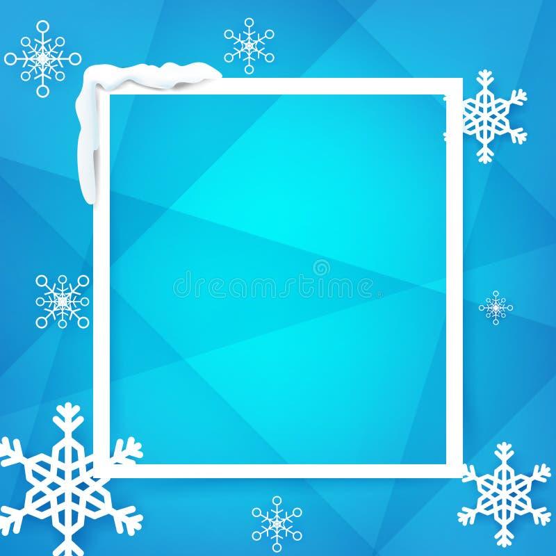 Zima internu rama z płatkiem śniegu nad błękitnym tło wektorem ilustracja wektor