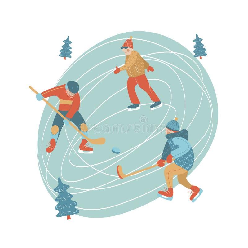 Zima, jazdy na łyżwach lodowisko Zimy sporty, hokej i łyżwiarstwo, również zwrócić corel ilustracji wektora royalty ilustracja