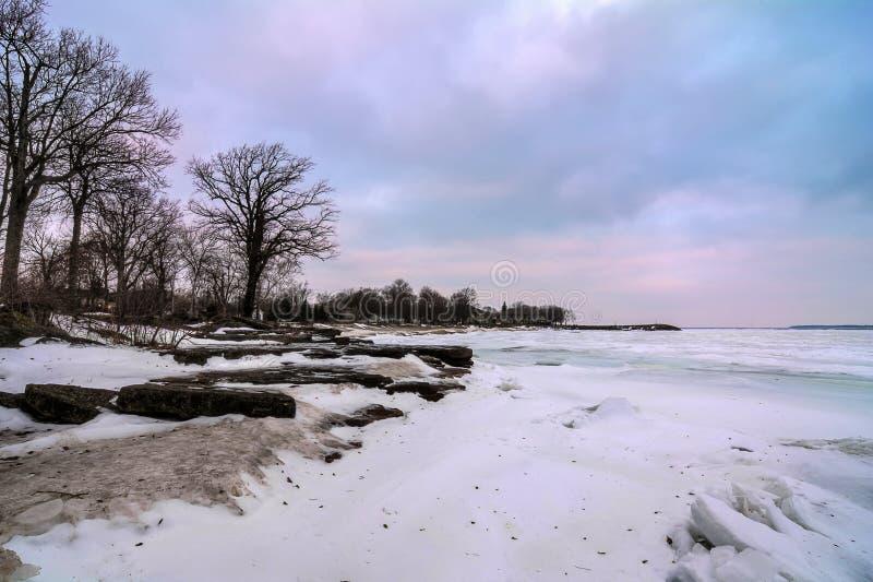 Zima jezioro Erie obrazy royalty free