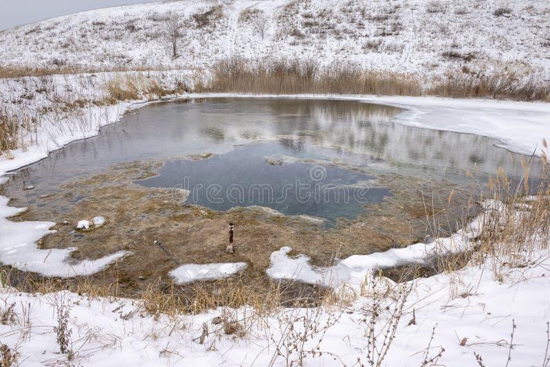 Zima jezioro w śniegu zdjęcia stock