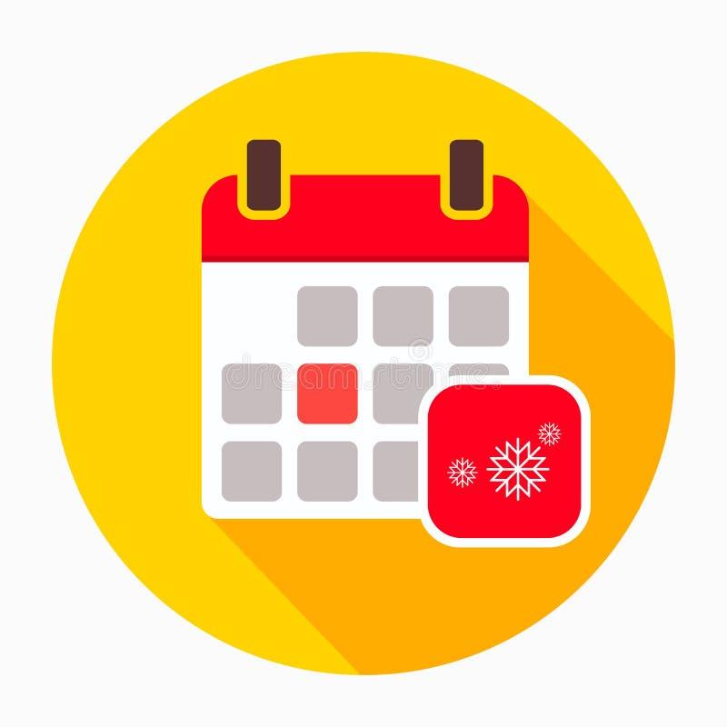 Zima kalendarz z płatek śniegu ikony wektorem, wypełniający mieszkanie znak, stały piktogram odizolowywający na bielu Wakacyjny r royalty ilustracja