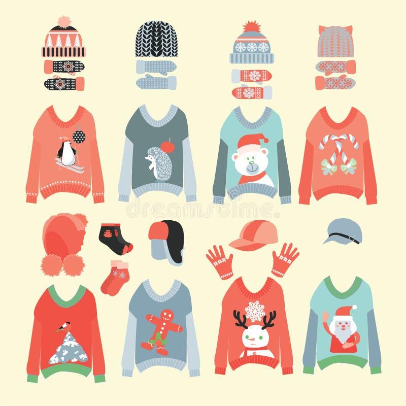 Zima kapelusze i śliczny boże narodzenie pulowerów ikony set ilustracja wektor