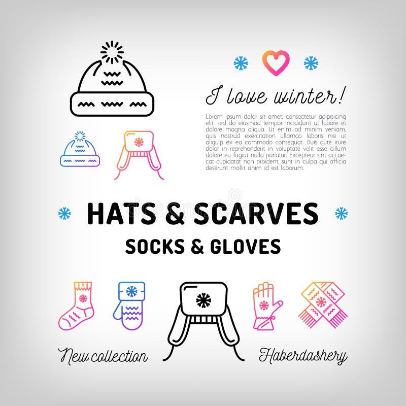 Zima kapelusze i szaliki, skarpety, rękawiczki, mitynki Modny pasamonictwo ilustracji