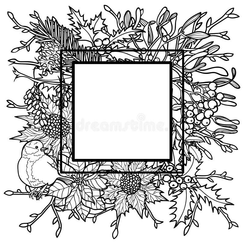 Zima konturu rama ilustracji