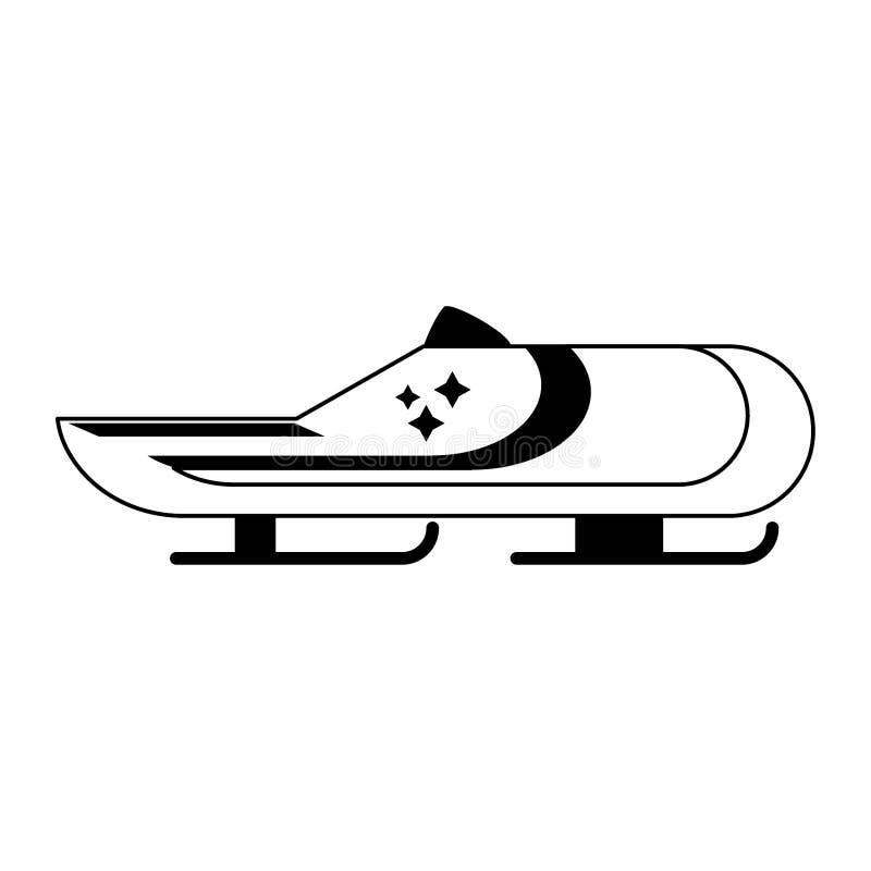 Zima kra?cowego sporta bobsledding samoch?d w czarny i bia?y ilustracji