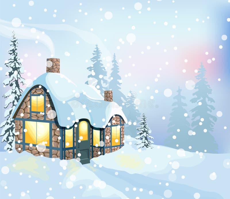 Zima krajobraz 3 royalty ilustracja
