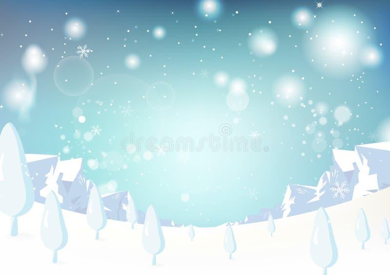 Zima krajobraz, boże narodzenia i nowy rok, lodowa halna fantazja s ilustracja wektor