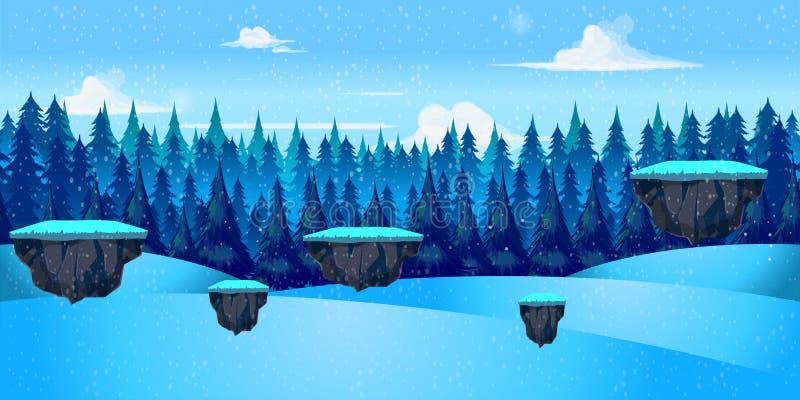 Zima krajobraz dla gry, Wektorowa ilustracja ilustracji