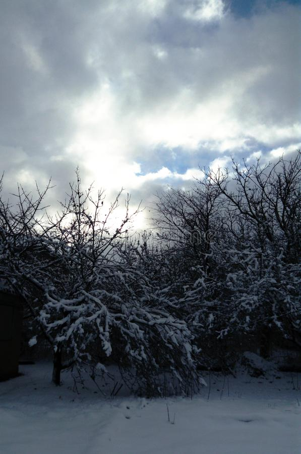Zima krajobraz i biel, błękitny barwimy w naturze zdjęcie royalty free