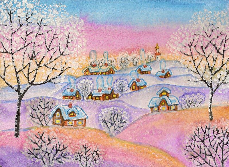 Zima krajobraz, maluje ilustracji