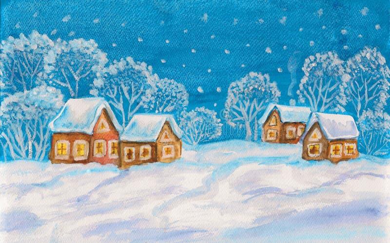 Zima krajobraz na bławym niebie ilustracja wektor