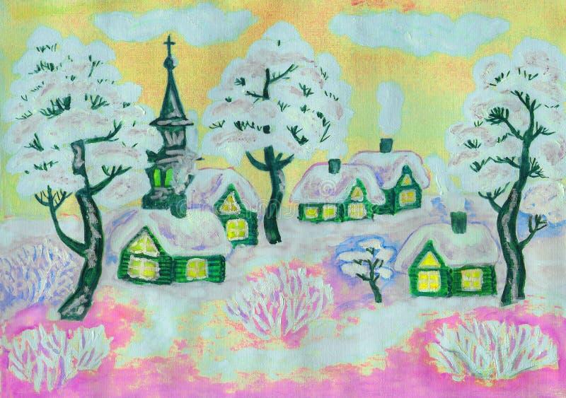 Zima krajobraz na kolorze żółtym, maluje ilustracja wektor