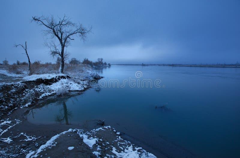 Zima krajobraz pierwszy ?nieg w ?r?dpolnym pobliskim lesie i rzece na chmurnym dniu zdjęcie royalty free