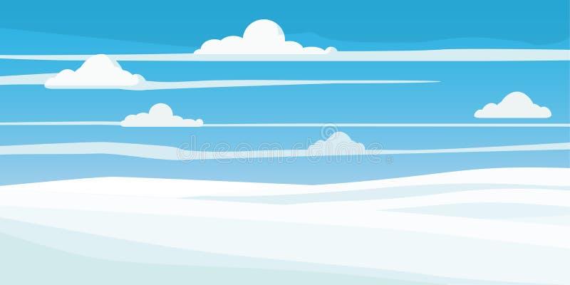 Zima krajobraz, pole w śniegu, drzewa, styl, wektor, ilustracja, odizolowywająca ilustracja wektor