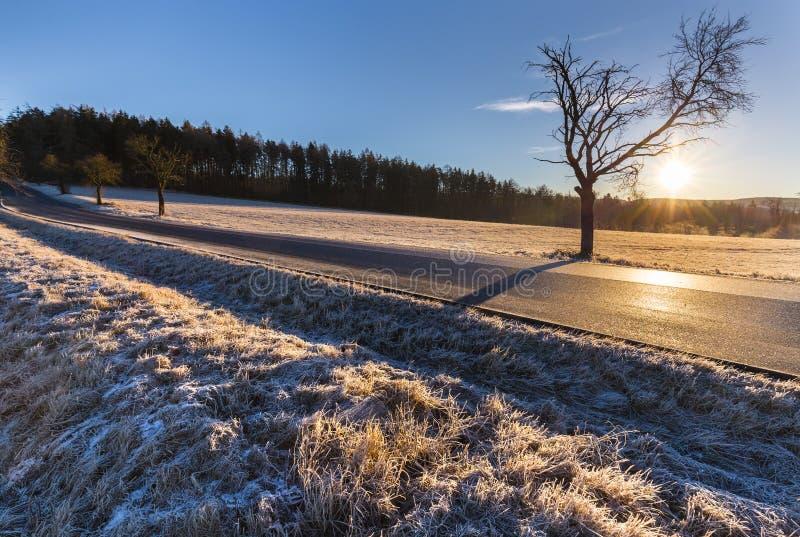 Zima krajobraz przy wschodem słońca i drogą obraz royalty free