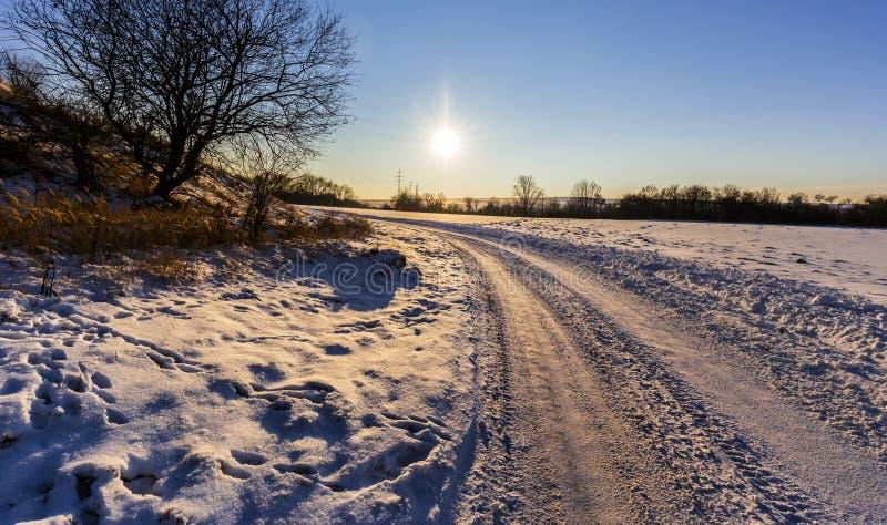 Zima krajobraz przy zmierzchem i drogą fotografia royalty free