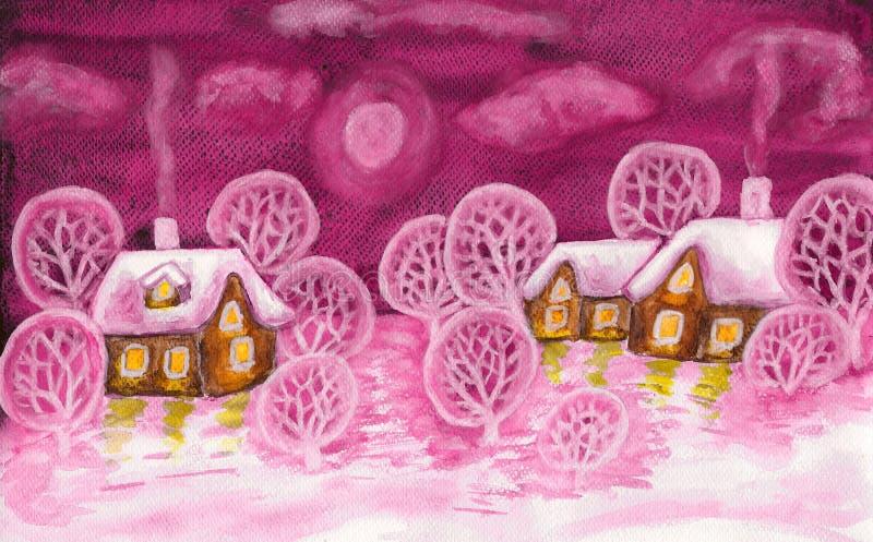 Zima krajobraz w ciemnopąsowych colours, maluje ilustracja wektor