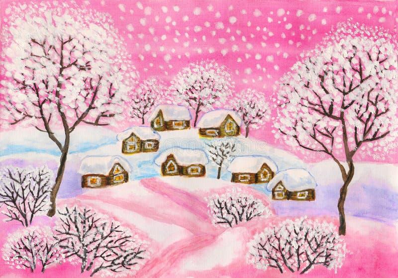 Zima krajobraz w różowych colours, maluje ilustracji