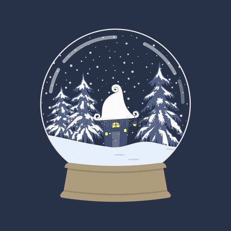 Zima krajobraz w szklanej śnieżnej kuli ziemskiej ilustracja wektor