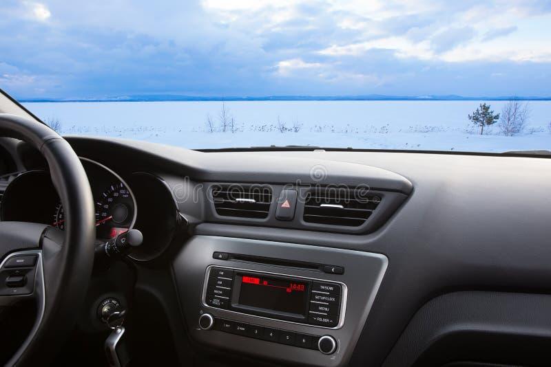 zima krajobraz wewnętrzny samochód obrazy royalty free