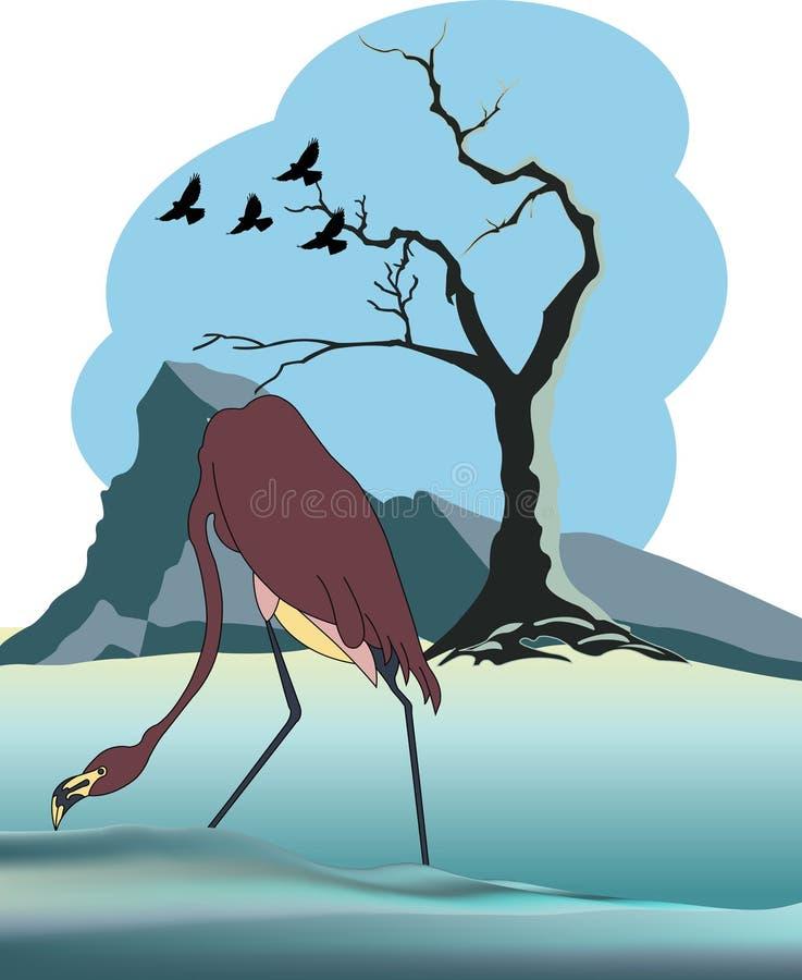 Zima krajobraz z żurawiem ilustracja wektor