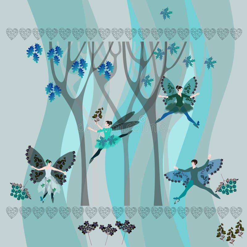 Zima krajobraz z drzewami, kwiatami, liśćmi, sercami i dancingowymi czarodziejkami, ilustracja wektor
