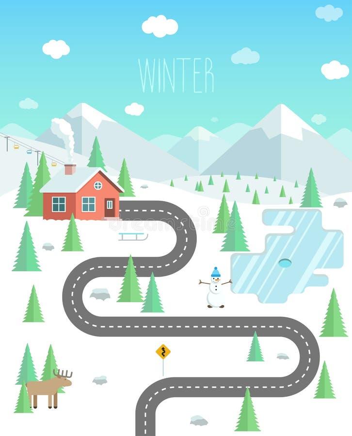Zima krajobraz z górami, lasem i jeziorem, Weekend w nat royalty ilustracja