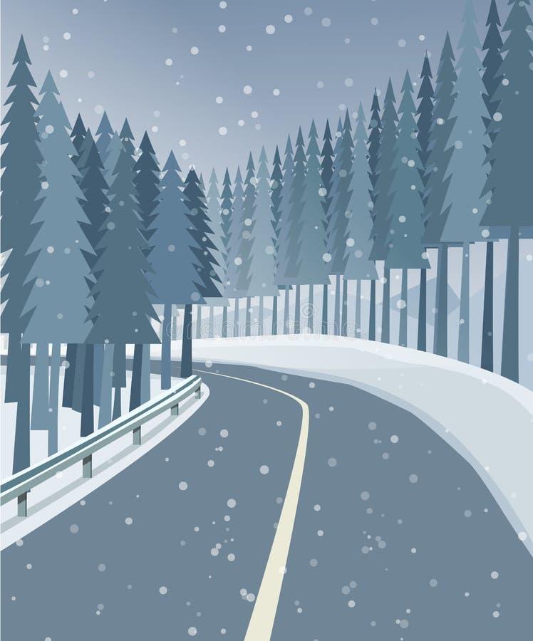Zima krajobraz z lasem, śniegiem i drogą, ilustracji