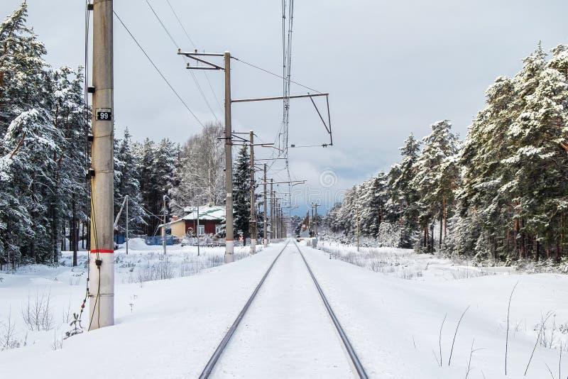 Zima krajobraz z stacją kolejową w Rosyjskich drewnach 2 zdjęcie royalty free
