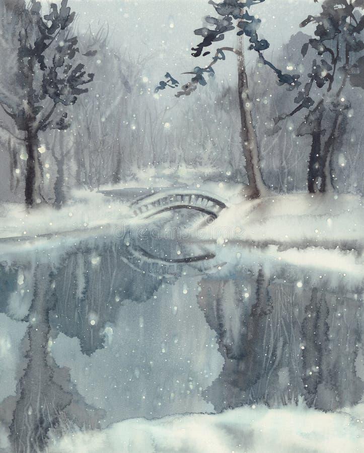Zima krajobraz z stawową akwarelą zdjęcia stock