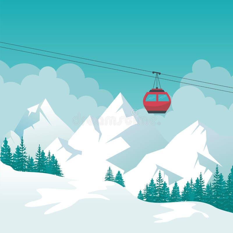 Zima krajobraz z wagonem kolei linowej, narty stacją i sceneria projektem, ilustracja wektor