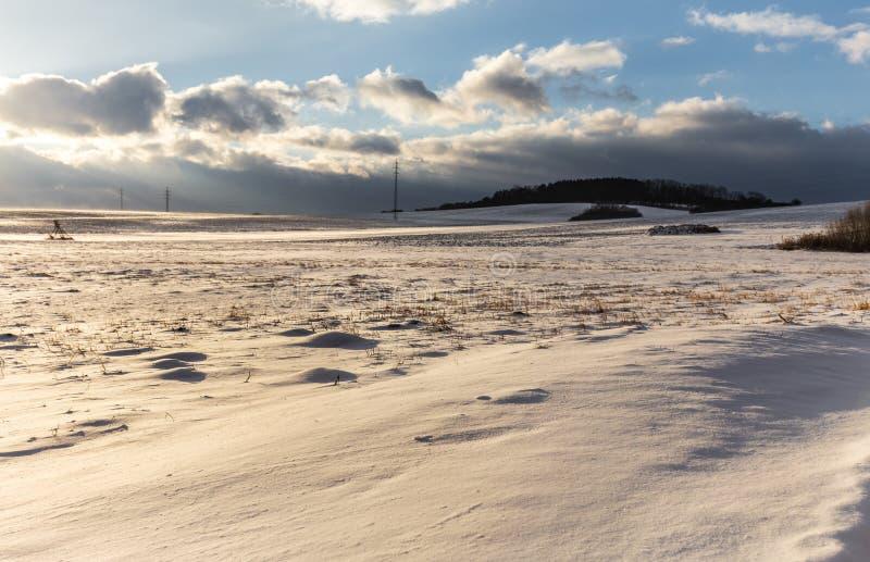 Zima krajobraz zakrywający z śnieżnymi i zwartymi chmurami obraz stock