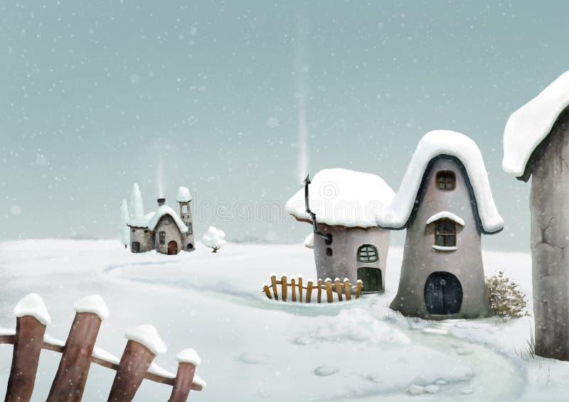 Zima kraju wioska czarodziejka krajobraz ilustracji