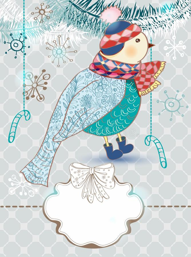 Zima kreskówki tło z ślicznym ptakiem royalty ilustracja