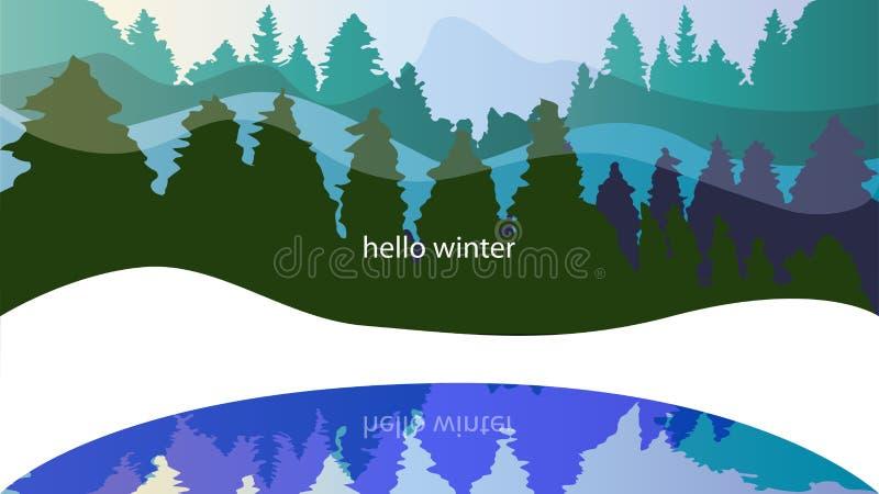 Zima las, conifers, opad śniegu Tło z słowami w cześć ilustracja wektor