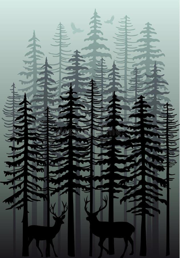 Zima las, wektor ilustracja wektor