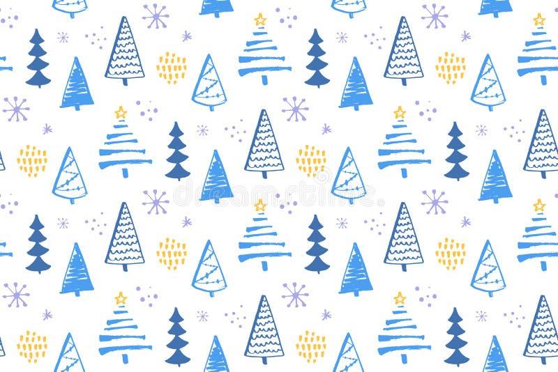 Zima lasowy bezszwowy wzór z ręki rysować choinkami Wektorowy tło dla opakunkowego papieru i bożych narodzeń royalty ilustracja