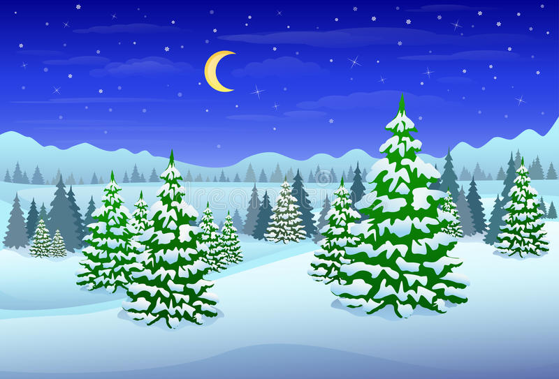 Zima lasu krajobrazu choinek drewna ilustracji