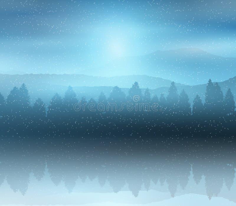 Zima lasu krajobrazu tło ilustracji