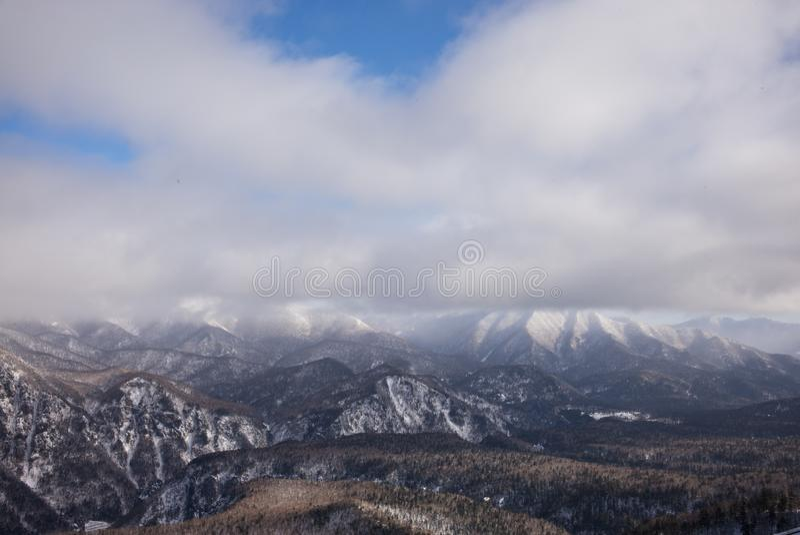 Zima lasu krajobrazu widok od góry Kurodake fotografia stock